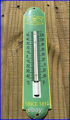 Vintage John Deere Porcelain Thermometer Metal Sign Oil Tractor Farm Gas Pump