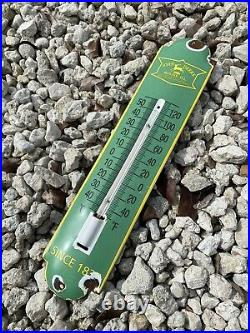 Vintage John Deere Porcelain Thermometer Sign Farm Tractor Agriculture Oil Gas