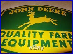 Vintage John Deere Quality Farm Equipment 24 Porcelain Metal Gasoline Oil Sign