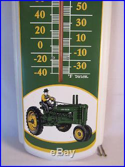 Vintage John Deere Quality Farm Equipment Metal Thermometer Sign 27 Taylor