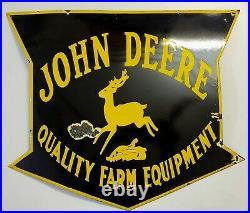 Vintage John Deere Quality Farm Equipment Porcelain Enamel Sign