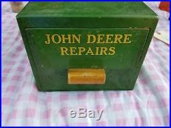 Vintage John Deere Repairs Box dealer wood old antique rare advertising