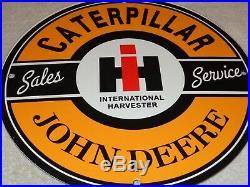 Vintage John Deere Sales & Service 11 3/4 Porcelain Metal Gasoline & Oil Sign
