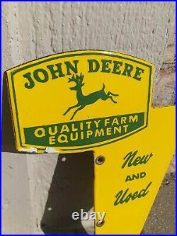 Vintage John Deere Sign Quality Farm Equipment Porcelain Dealer Sign