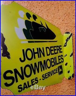 Vintage John Deere Ski Doo Snowmobile Sales Sign. Vintage Snowmobile Flange Sign