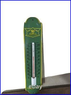 Vintage'' John Deere'' Thermometer'' Heavy Porcelain 11.75 X 2.7.5 Inch