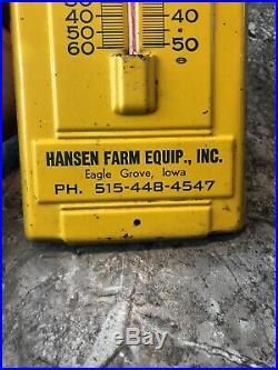 Vintage John Deere Thermometer Tin Sign Eagle Grove Iowa Farm Equipment Tractor