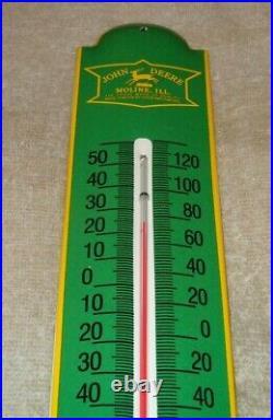 Vintage John Deere Tractor 11 3/4 Porcelain Metal Gasoline Oil Thermometer Sign