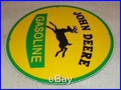 Vintage John Deere Tractor Gasoline + Deer 11 3/4 Porcelain Metal Gas Oil Sign