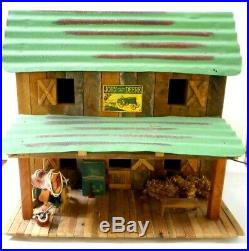 Vintage John Deere Tractor Model Horse Toy Stable Barn Display Lighted withSigns