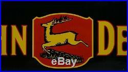 Vintage John Deere Tractor Porcelain Gasoline Deer Oil Sign Gas Ad Station Pump