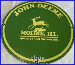 Vintage John Deere Tractor Porcelain Sign, Service, Gas, Oil, Dealership, Farm