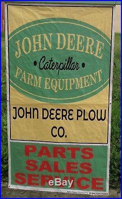 Vintage John Deere Tractor Sign Banner Parts Sales Service Farm Tractor Banner