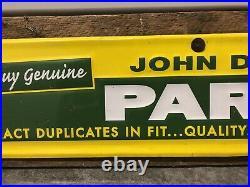 Vintage Large 45.5 John Deere Parts Metal Sign Gas & Oil