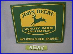Vintage Metal John Deere Quality Farm Equipment Sign 15 x 12