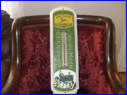 Vintage Metal John Deere Quality Farm Equipment Thermometer. 17x8 inches