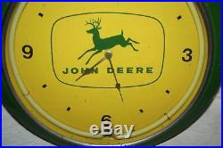 Vintage Metal Neon Green John Deere 4 Legged Deer Clock