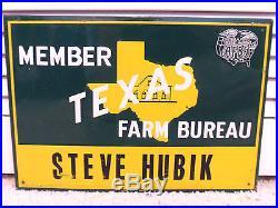 Vintage Metal Sign Texas Farm Bureau John Deere Green Coop Crop Barn Insurance