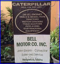 Vintage Nezperce Idaho John Deere Caterpillar Tractor Display Sales Banner Sign