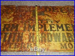 Vintage ORIG JOHN DEERE JD Farm Tractor Machinery Tin Embossed Advertising SIGN