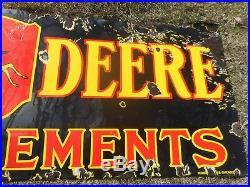 Vintage Orig JOHN DEERE JD Farm Tractor 4 Legged Deer Porcelain Advertising SIGN