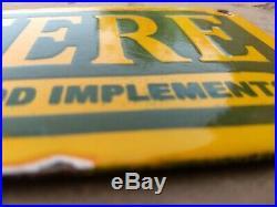 Vintage Original JOHN DEERE IMPLEMENTS Porcelain Enamel Sign Dealer Shop Service