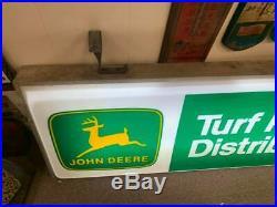 Vintage Original John Deere Farm Tractor Turf Dealer Light Up Sign GAS OIL COLA