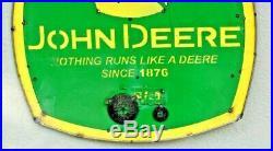 Vintage Original Porcelain Metal Sign Rare JOHN DEERE Since 1876 Sign 19 x 20 VG
