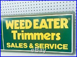 Vintage Original Weed Eater Sales & Service Lighted Clock Collectable Sign USA