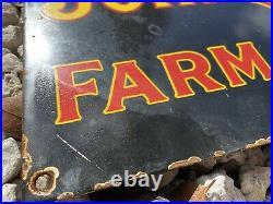 Vintage Porcelain John Deere Sign USA Oil Gas Pump Farm Implements Tractor Deer