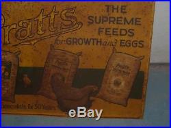 Vintage Pratt's Chicken Feed sign -1950's John Deere Farmall Oliver Poultry Eggs