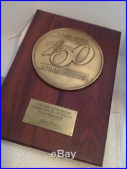 Vintage Sign JOHN DEERE 150 YEAR ANNIVERSARY 1837-1987 Plaque Dealer 14 X 20