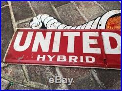 Vintage United Hybrid Seed Corn Metal Sign Farming Tractors Cows John Deere