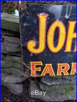 Vintage old John Deere embossed metal sign gas station garage farm tractor