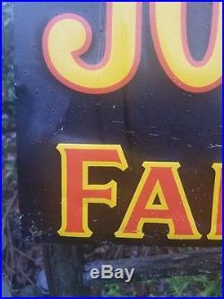 Vintage old original John Deere metal sign farm tractor dealership sales gas oil