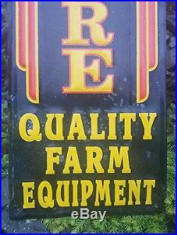 Vintage old original John Deere metal sign farm tractor dealership sales service