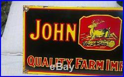 Vintage original JOHN DEERE 4 LEG QUALITY FARM IMPLEMENTS porcelain sign dealer