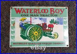Vintage waterloo boy porcelain sign