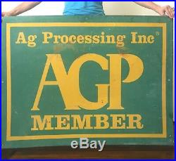 Vtg Ag Processing Farm Member Seed Feed Gas Oil Sign John Deere Colors Original