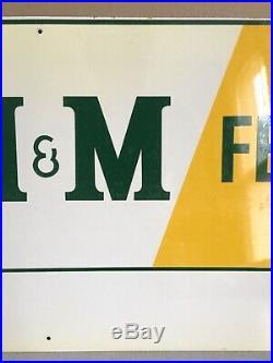 Vtg Farm Seed Feed Gas Oil Tin Metal Ag JD IH M & M Nos Sign John Deere IA Iowa