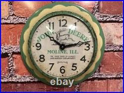 Vtg Ingraham John Deere Tractor Oil Old Farm Store Advertising Wall Clock Sign