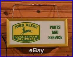 Vtg John Deere Dealer Quality Farm Equipment Lighted Parts & Service Sign 4 Legs