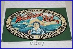WATERLOO BOY KEROSENE TRACTORS Porcelain Sign John Deere Gas Engine Co. MINT